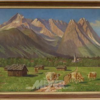 Gemälde ''Berglandschaft mit Kühen''