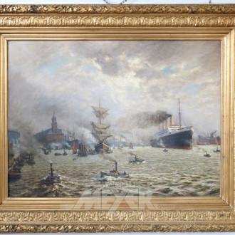 gr. Gemälde ''Dampfer Imperator im