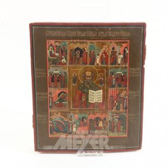 Ikone, ''Heiliger Nikolaus mit Randheiligen''