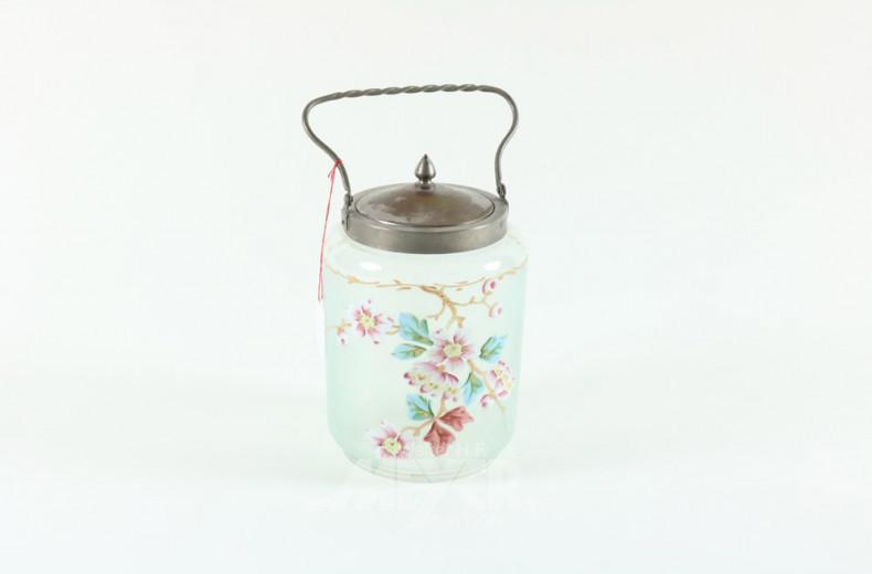 Teedose, blaues Glas, Blumendekor,