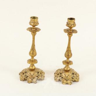Kerzenleuchter-Paar, Bronze vergoldet