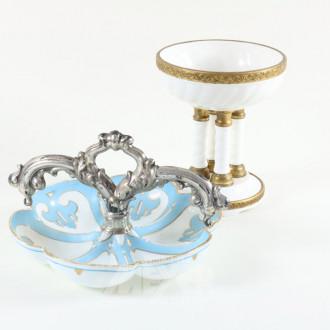 Porzellan-Sockelschale, Ø ca. 20 cm