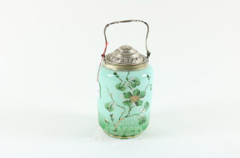 Teedose, grünes Glas, Blumendekor,