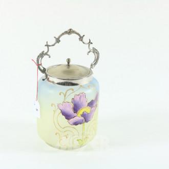 Teedose, blau/gelbes Glas, Blumendekor,