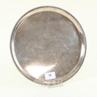 rd. Gläsertablett, Silber mit Kordelrand