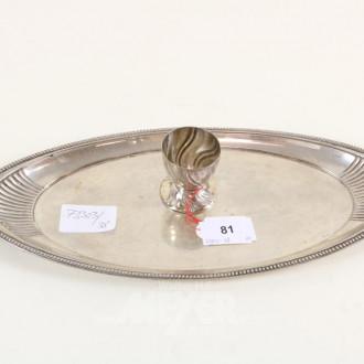 Gläsertablett, 800er Silber, oval mit