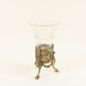 Kristall-Vase mit Bronze-Dreifußständer