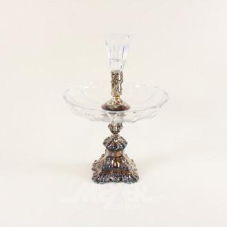 Tafelaufsatz, Silber mit Glaseinsätzen