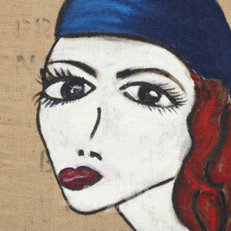 Damen Portrait, ÖL auf Jute,