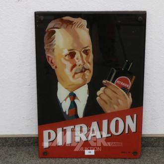 Werbe-Bild ''Pitralon'', Glas, beschädigt,