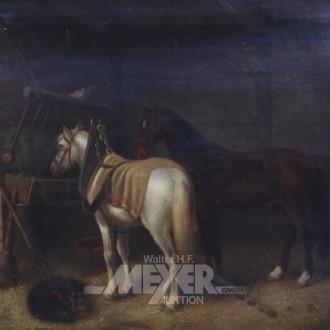 Gemälde ''2 Kutscherpferde im Stall''