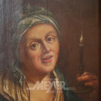Gemälde ''Dame mit Kopftuch und Kerze''
