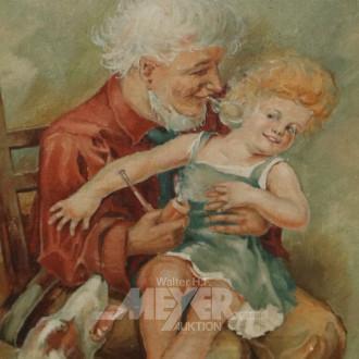 Gemälde ''Großvater mit Enkelin