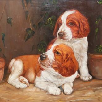 kl. Gemälde ''Hundewelpen''
