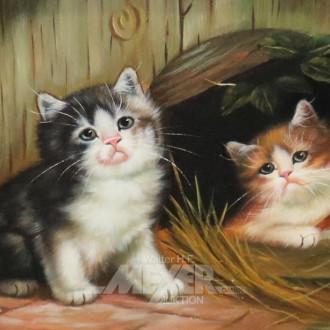 kl. Gemälde ''Katzen''