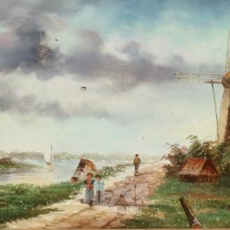 kl. Gemälde ''Holländische Landschaft