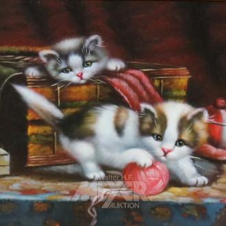 kl. Gemälde ''Spielende Katzen''