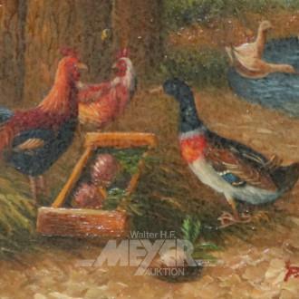 kl. Gemälde ''Hühner und Ente''