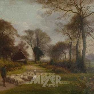 Gemälde ''Schafhirte auf Feldweg''