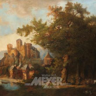 Gemälde ''Schloß Runkel an der Lahn''