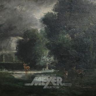 Gemälde ''Rotwild an der Tränke''