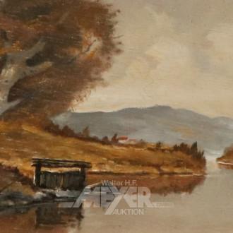 kl. Gemälde ''Angler am See''