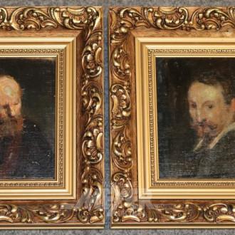 2 kl. Gemälde ''Herrenportraits''