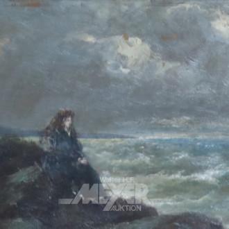 kl. Gemälde ''Mädchen auf Felsen am Meer''