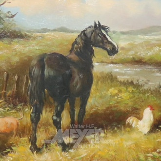 kl. Gemälde ''Pferd mit Schwein und Hahn''
