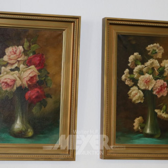 Paar Gemälde ''Blumenstillleben Nelken