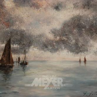 Gemälde ''Abenddämmerung auf See''