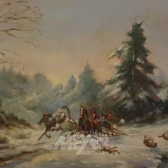 Gemälde ''Dreispänniger Schlitten