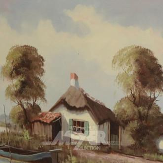 Gemälde ''Seelandschaft mit Fischerboot
