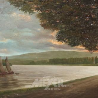 Gemälde ''Fischerboot auf dem Fluß''