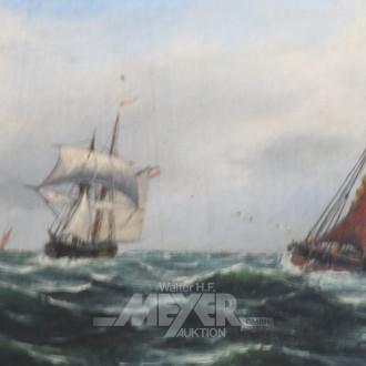 kl. Gemälde ''Segelboote auf hoher See''