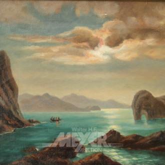kl. Gemälde ''Südliche Küstenlandschaft