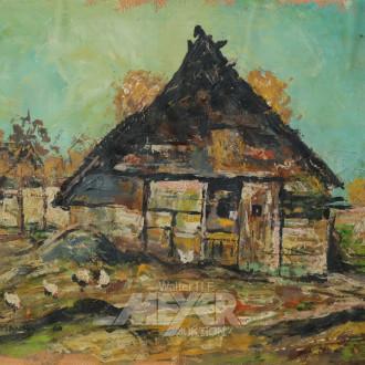 kl. Gemälde ''Bauernhof mit Hühnern