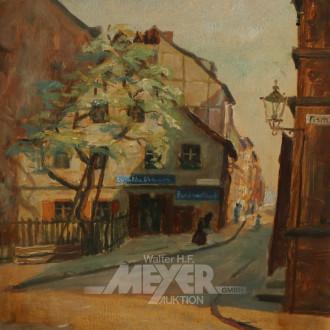kl. Gemälde ''Häusergasse''