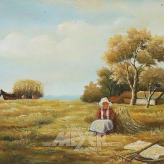 Gemälde ''Bäuerin bei der Ernte''