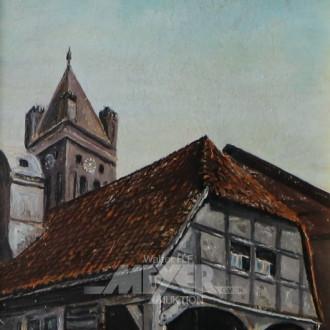 kl. Gemälde ''Fachwerkhaus''
