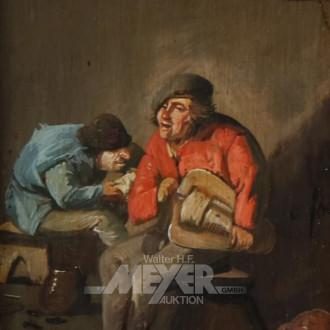 kl. Gemälde ''Interieur mit Männern''