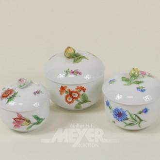 3 versch. Porzellan-Deckel/Zuckerdosen