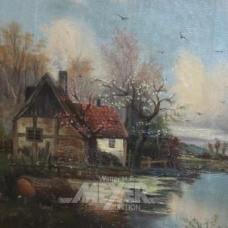 kl. Gemälde ''Gehöft mit Wassermühle''