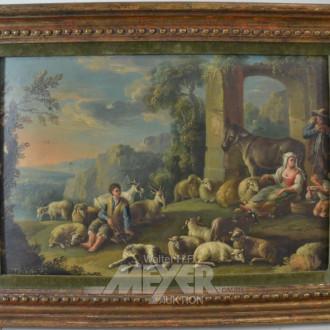2 Gemälde, Gegenstücke, 19. Jh.
