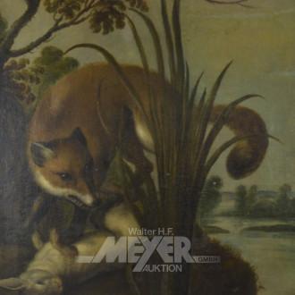 Gemälde, ''Fuchs mit erlegten Hasen''