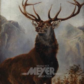 Gemälde ''Hirsch vor Berglandschaft''