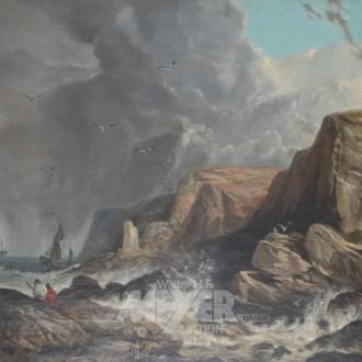 Gemälde ''Segelboot vor felsiger Küste''