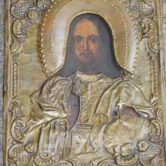 kl. Ikone mit Messingbasma ''Christus''