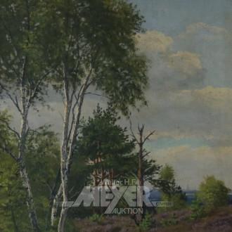 Gemälde ''Heidelandschaft mit Birken''