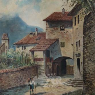 Gemälde ''Weinkorbträger in Meran''